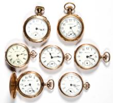 HAMPDEN LADY'S MODEL 3 AND MODEL 4 POCKET WATCHES, LOT OF SEVEN