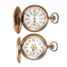 WALTHAM SEVEN-JEWEL LADY'S MODEL 1891 POCKET WATCHES, LOT OF TWO