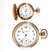 HAMPDEN 15-JEWEL POCKET WATCHES, LOT OF TWO