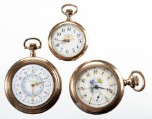 ASSORTED WALTHAM FANCY DIAL POCKET WATCHES, LOT OF THREE