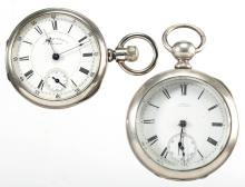 WALTHAM MAN'S COIN SILVER CASE MODEL 1877 POCKET WATCHES, LOT OF TWO