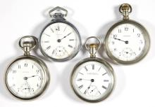 WALTHAM MAN'S MODEL 1883 POCKET WATCHES, LOT OF FOUR