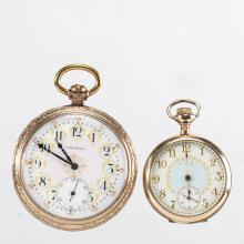 ELGIN SEVEN-JEWEL MODEL 3 POCKET WATCHES, LOT OF TWO