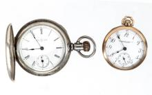 ILLINOIS WATCH CO. 11-JEWEL MODEL 1 POCKET WATCHES, LOT OF TWO