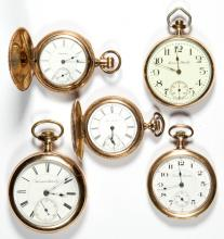 HAMPDEN MAN'S MODEL 3 AND MODEL 5 POCKET WATCHES, LOT OF FIVE