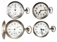 WALTHAM SEVEN-JEWEL STERLING SILVER CASE MODEL 1907 POCKET WATCHES, LOT OF FOUR