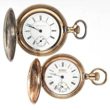 HAMPDEN MAN'S MODEL 3 POCKET WATCHES, LOT OF TWO