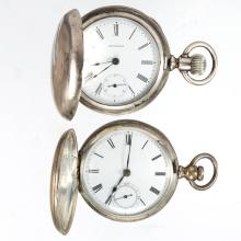 WALTHAM SEVEN-JEWEL MAN'S COIN SILVER CASE POCKET WATCHES, LOT OF TWO