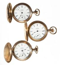 ELGIN MAN'S MODEL 2 POCKET WATCHES, LOT OF THREE