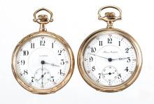 ILLINOIS WATCH CO. 17-JEWEL MAN'S MODEL 7 POCKET WATCHES, LOT OF TWO