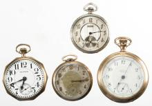 WALTHAM 17-JEWEL MAN'S POCKET WATCHES, LOT OF FOUR