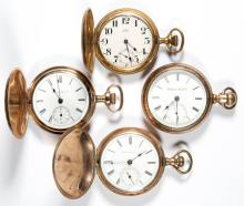 HAMPDEN MAN'S MODEL 2 AND MODEL 4 POCKET WATCHES, LOT OF FOUR