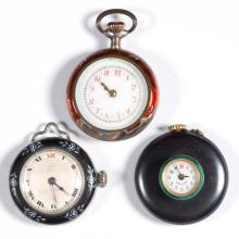 SWISS 15-JEWEL SILVER CASE POCKET WATCHES, LOT OF TWO