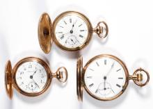 SWISS AND OTHER HUNTER CASE POCKET WATCHES, LOT OF THREE
