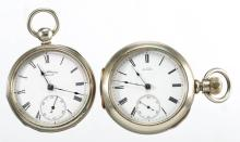 WALTHAM MAN'S KEY-WIND MOVEMENT POCKET WATCHES, LOT OF TWO