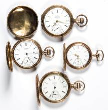 ELGIN SEVEN-JEWEL POCKET WATCHES, LOT OF FOUR