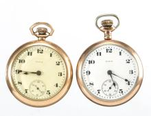 ELGIN 17-JEWEL MAN'S MODEL 5 POCKET WATCHES, LOT OF TWO