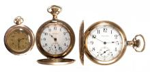 WALTHAM 15- AND 16-JEWEL LADY'S POCKET WATCHES, LOT OF THREE