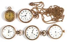 ELGIN SEVEN-JEWEL LADY'S MODEL 2 POCKET WATCHES, LOT OF FIVE