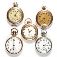 ELGIN SEVEN-JEWEL LADY'S MODEL 3 POCKET WATCHES, LOT OF FIVE