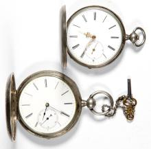 SWISS / AMERICAN SILVER CASE POCKET WATCHES, LOT OF TWO