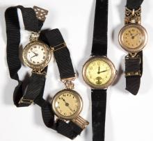 SWISS / AMERICAN LADY'S TRANSITIONAL WRIST WATCHES, LOT OF FOUR