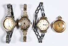 ASSORTED ELGIN 7-JEWEL WRIST AND POCKET WATCHES, LOT OF THREE