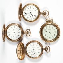 WALTHAM SEVEN-JEWEL MODEL 1890 POCKET WATCHES, LOT OF FOUR