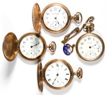 WALTHAM SEVEN-JEWEL MAN'S POCKET WATCHES, LOT OF FOUR