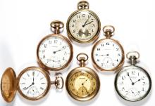 ASSORTED WALTHAM MAN'S POCKET WATCHES, LOT OF SIX