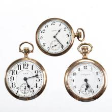 ELGIN MAN'S POCKET WATCHES, LOT OF THREE