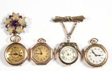 SWISS / AMERICAN LADY'S LAPEL / PENDANT WATCHES, LOT OF FOUR