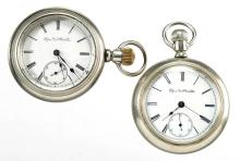 ELGIN 11-JEWEL MAN'S POCKET WATCHES, LOT OF TWO