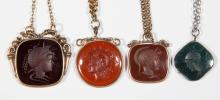 VICTORIAN CARVED INTAGLIO WARRIOR HEAD POCKET WATCH FOBS, LOT OF FOUR