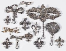 ANTIQUE / VINTAGE SILVER CHATELAINES / POCKET WATCH BROOCH HOOKS, LOT OF 13
