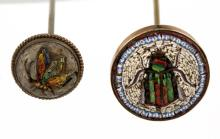 ANTIQUE / VINTAGE FIGURAL MICRO-MOSAIC HATPINS, LOT OF TWO