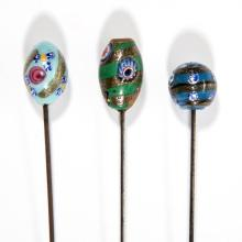 VINTAGE ART GLASS HATPINS, LOT OF THREE