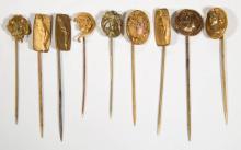 ART NOUVEAU / ART DECO STICK PINS, LOT OF NINE