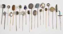 ANTIQUE / VINTAGE STERLING SILVER AND OTHER METALS STICK PINS, LOT OF 20