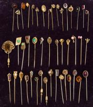 ANTIQUE / VINTAGE RHINESTONE AND GLASS STICK PINS, LOT OF 45