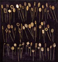ANTIQUE / VINTAGE GOLD-FILLED STICK PINS, LOT OF 68