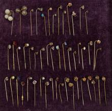 ANTIQUE / VINTAGE RHINESTONE AND GLASS STICK PINS, LOT OF 50