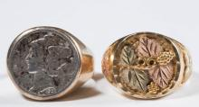 ASSORTED VINTAGE 10K GOLD MEN'S RINGS, LOT OF TWO