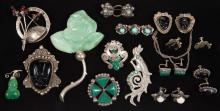 ASSORTED ANTIQUE / VINTAGE MEXICO SILVER COSTUME JEWELRY, LOT OF 18