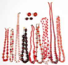 ASSORTED ANTIQUE / VINTAGE MOLDED GLASS BEAD COSTUME JEWELRY, LOT OF 13