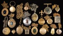 ASSORTED ANTIQUE / VINTAGE LOCKET COSTUME JEWELRY, LOT OF 19