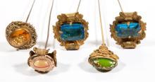 ANTIQUE / VINTAGE ART GLASS, RHINESTONE HATPINS, LOT OF FIVE