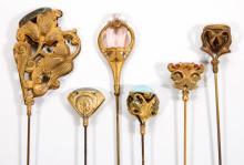 ANTIQUE GOLD-TONE HATPINS, LOT OF SIX