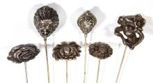 ANTIQUE / VINTAGE ASSORTED SILVER FIGURAL HATPINS, LOT OF SIX