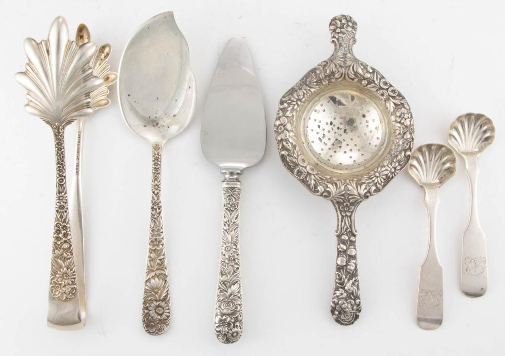 """S. KIRK & SON """"REPOUSSE"""" STERLING SILVER AND A.E. WARNER 0.917 SILVER SERVING UTENSILS, LOT OF SIX"""